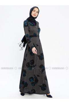 Navy Blue - Multi - V neck Collar - Fully Lined - Dresses - MissGlamour(110320696)