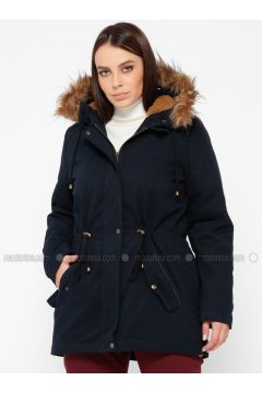 Navy Blue - Fully Lined - Plus Size Overcoat - RMG(110322997)