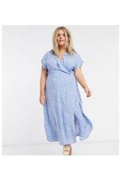 New Look Curve - Vestito a portafoglio midi blu a fiorellini(120325913)