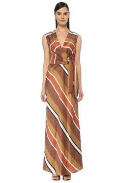 Eleventy Kadın Kahverengi V Yaka Çizgili Maksi Keten Elbise 40 IT(108378245)