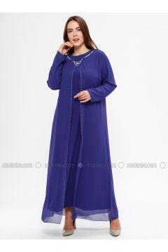 Saxe - Unlined - Crew neck - Muslim Plus Size Evening Dress - Havva Ana(110329986)