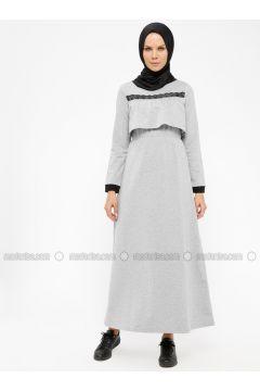 Gray - Crew neck - Unlined - Dresses - MODAGÜL(110332087)