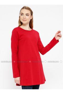 Red - Crew neck - Cotton - Tunic - Meliana(110327089)