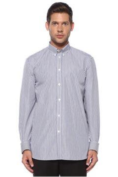 Givenchy Erkek Mavi Beyaz Polo Yaka Çizgili Logo Detaylı Gömlek Lacivert 40 IT(119785524)