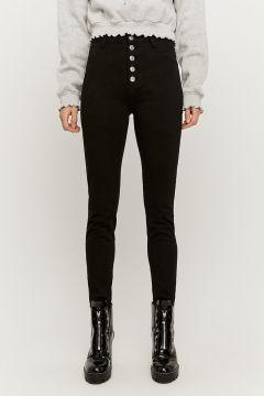 High Waist Skinny Hosen mit Knopfleiste vorne(113853420)