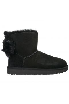 Women's suede ankle boots booties fluff bow mini(118071596)