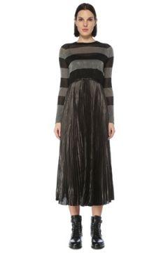 Allsaints Kadın Jaclyn Siyah Silver Kazak Detaylı Midi Elbise S EU(126795813)