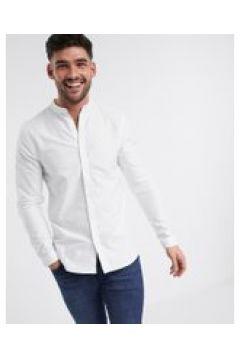 New Look - Camicia Oxford serafino a maniche lunghe bianca-Bianco(120261400)
