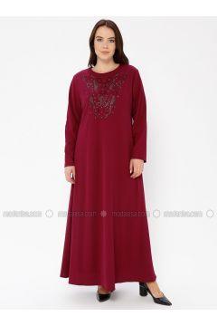 Cherry - Unlined - Crew neck - Plus Size Dress - EFE FERACE(110337652)
