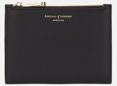 Aspinal of London Women\'s Essential Small Flat Pouch - Black(89038928)