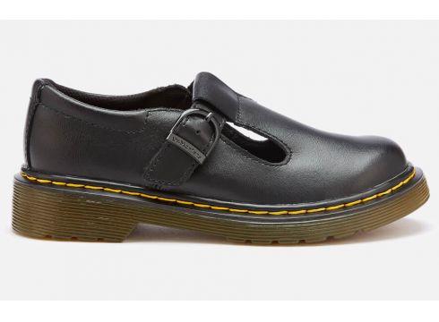 Dr. Martens Kids\' Polley J T Lamper Leather T Bar Flats - Black - UK 10 Kids - Schwarz(51893422)