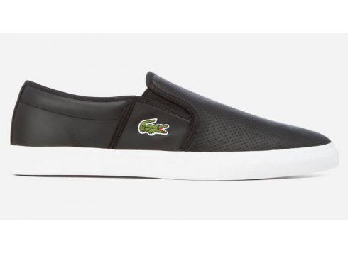 Lacoste Men\'s Gazon Bl 1 Leather Slip-On Trainers - Black - UK 8 - Schwarz(50498330)