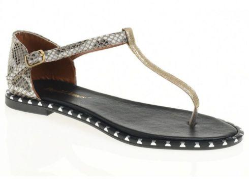 David Jones Kadın Parmak Arası Sandalet Gri Yılan Baskı(117470146)
