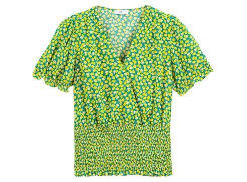 Blusa con efecto cruzado estampada, bajo con smocks(114609668)