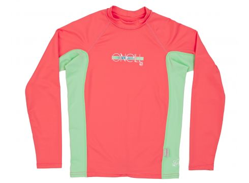 O\'Neill Skins Long sleeve Crew Mädchen Rash Vest - Coral/ Mint/ Coral(100258304)