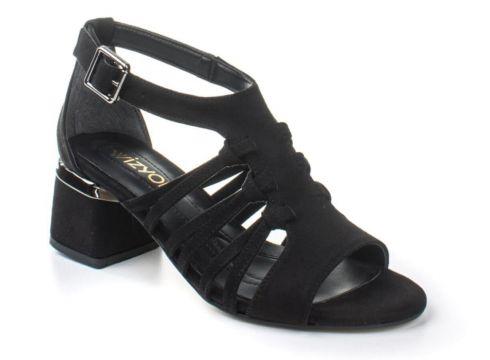 Wizyon Kadın Navy Topuklu Ayakkabı Süet Örgü Detaylı Arkası Kapalı(116843645)