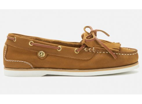 Barbour Women\'s Ellen Suede Moccasin Boat Shoes - Camel - UK 5 - Tan(90300806)