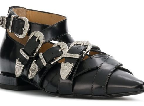Toga Pulla buckled pointed loafers - Noir(65484319)