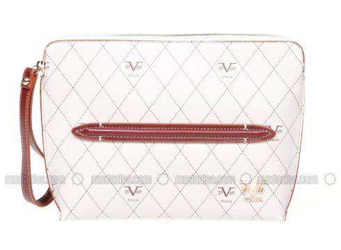 White - Ecru - Maroon - Clutch - Bag - 19V69 Italia(100929792)